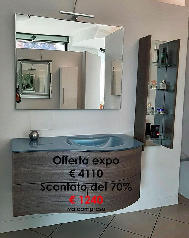 Offerta Mobile bagno CITY 108 con vetrinetta, completo di specchio, luce led, top cristallo in fusione - Barbati Bagno