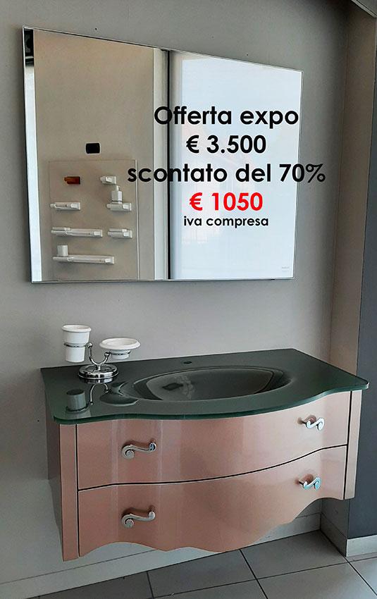 Offerta Mobile bagno IRIS RAME cm 105 completo di specchio, luce top in cristallo in fusione - Barbati Bagno