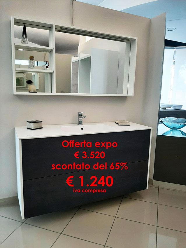 Offerta Mobile bagno VIOLA cm 140 con specchio a cornice con luce led, top in mineral - Barbati Bagno